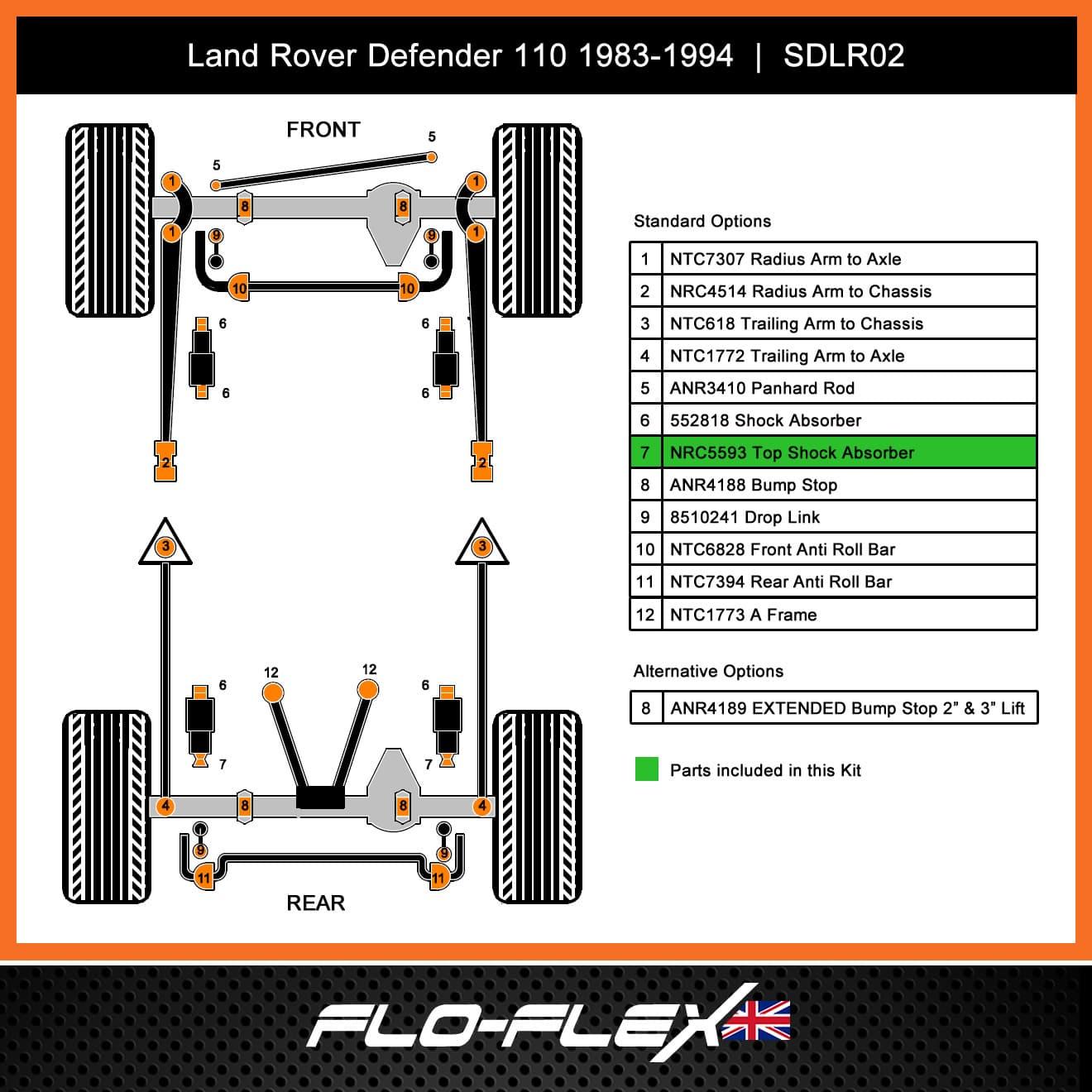 Land Rover Defender Rear Shock Absorber Bush Kit to 1998